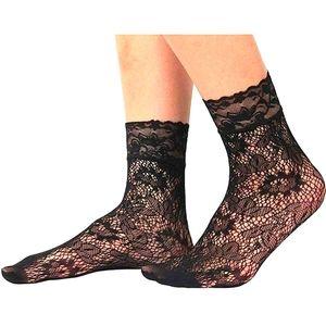 Rose/ floral sheer fishnet womens dress socks